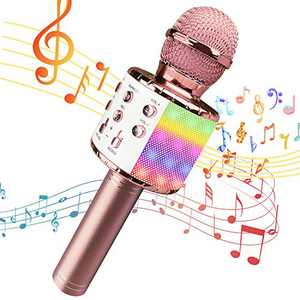 Wireless Karaoke Microphone for Kids with LED Lights, Portable Handheld Bluetooth Speaker Mic, Gift Toys for Kids Adults Birthday Home KTV Music Player & Recorder Machine Compatible with Android & iOS