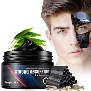 Sunny&Lucky Blackhead Remover Mask for Men,Bamboo Charcoal Peel Off Black Mask,Purifying and Deep Cleansing for All Skin Types 4.23 OZ