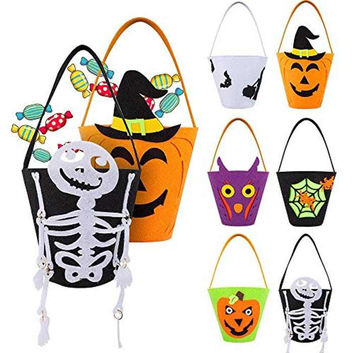 6 piece Halloween Trick or Treat Bag, Protable Candy Bucket Tote Bag, Non-Toxic Halloween Party Supplies for Kids, Boys and girls