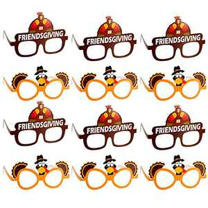 Thanksgiving Turkey Glasses Thanksgiving Day Eyeglasses Thanksgiving Day Party Supplies Decoration (12PCS)