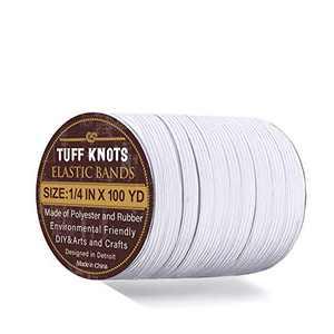 Elastic Bands for Sewing 1/4 Inch x 100 Yards   High Stretch Knit Braided Elastic Cord   Flat Elastic String for Earloop, Cuff, Craft & DIY (White)
