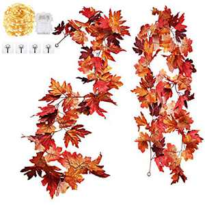 Idefair 2 Pack Fall Garland Maple Leaf, 5.7Ft Fall Garland Artificial Autumn Hanging Fall Decor for Home Christmas Thanksgiving Halloween