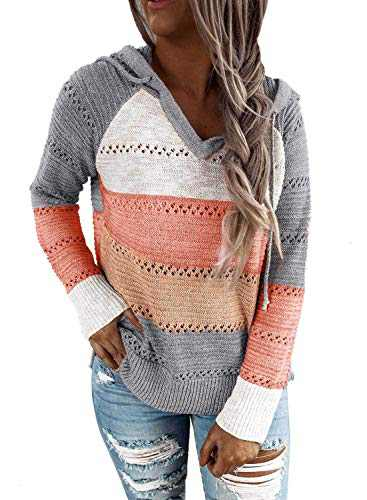 Womens Lightweight Color Block Hoodies Sweaters Long Sleeve Casual Hollow Out V Neck Pullovers Sweatshirts Tops Grey L