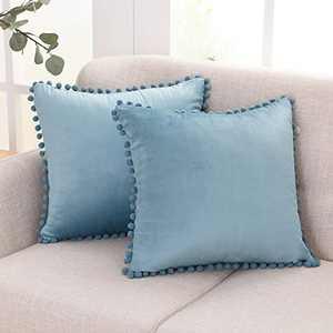 Deconovo Velvet Cushion Covers Throw Pillow Set of 2 Decorative Soft Farmhouse Square Pom-poms for Sofa Bedroom, 18x18 Inch Haze Blue