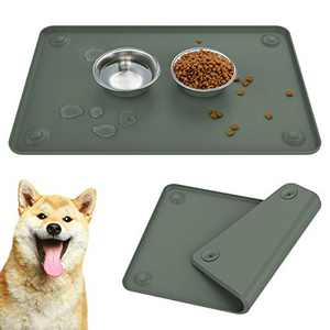 Lewondr Dog Pet Food Mat, 24x16Inch Food Feeding Pet Bowl Mat with Sucker Silicone Waterproof Non-Slip Placemat Raised Edge Easy to Clean Premium Food Grade Feeding Tray for Cats and Dogs - Gray Green