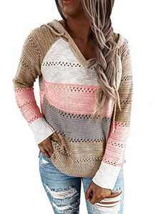 QegarTop Women Sweater Hoodie Knit Long Sleeve Casual Hollow Out V Neck Pullovers Colorblock Sweatshirts Pink 2XL