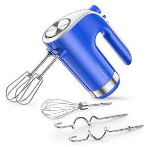 Hand Mixer Electric, Elechomes Kitchen Handheld Mixer, 5 Speed Turbo Boost Slow Start Anti-splash Easy Eject Button True Stainless Steel Dough Hooks Whisk Beaters, Blue