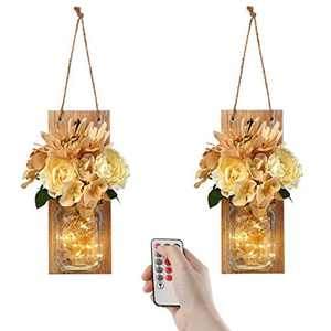Remote Mason Jar Sconces Wall Decor - Farmhouse Decor with Wireless Remotefor Living Room,Dining Room,Battery Operated LED Fairy Lights,Set of 2(Medium, Brown)