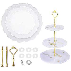 Sorlakar 3 Tier Cake Stand Resin Tray Mold, Epoxy Resin Cake Stand Mold Silicone Casting Mold with Hardware Fittings for DIY Cupcake Serving Stand (Round)