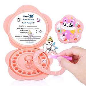 Tooth Fairy Box, Baby Tooth Box Keepsake, Silicone Material Tooth Storage/Saver Box, Children Kids Tooth Storage Holder Organizer, for Lost Teeth Children, Baby Shower & Birthday Gift (Pink)…