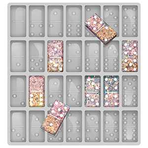 Professional Domino Molds for Resin Casting Jumbo Domino Molds for Resin Casting Double 6 Dominoes Mold, Shiny & No Scratches & Durable,8.86 x 9.25 x 0.39 inch 230g (2021 Version)
