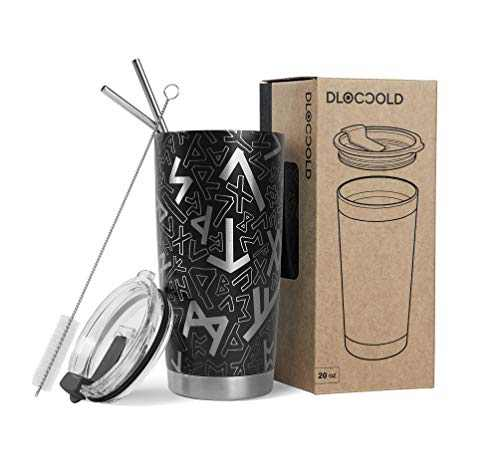 DLOCCOLD 20/30oz Tumbler Double Wall Stainless Steel Vacuum Insulated Coffee Travel Mug with Lid and Straw (20oz, Black Icelandic)