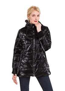 Polydeer Women's Warm Winter Jacket,Waterproof Puffer Rain Coat,Velvet Shiny Lightweight Hooded Outerwear (Black, XXL)