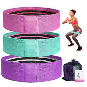 Frebw 3 Levels Booty Bands, Resistance Band Set for Women, Exercise Stretch Bands, Wide Anti Slip Fabric Sports Fitness Bands for Squat Glute Hip Training (3pcs,Multicolor1)