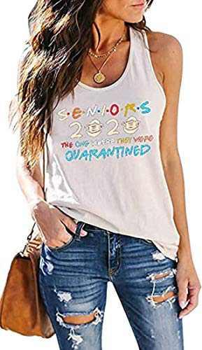 Yasalala Women's Sleeveless Yoga Workout Tank Tops Cute Printed Loose Fit Running Exercise T-Shirt Loose Casual Shirts Blouse (White Print 2, M)