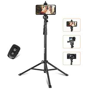 Yesker 52'' Phone Tripod Stand & Selfie Stick Tripod, All in One Professional Travel Cell Phone Tripod, Cellphone Tripod with Bluetooth Remote and Phone Holder, Compatible with iPhone, Android Phones
