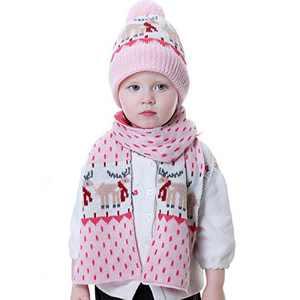 DERCLIVE Children Hat Scarf Set Winter Knitted Hat Neck Warmer for 1-4Y Kids(Pink elk)