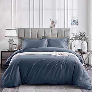 OAITE Duvet Cover Queen, 100% Long Staple Cotton 500 Thread Count 3pcs Bedding Set, Solid Blue Luxury Quality Soft Sateen Ultra Comfortable Easy Care with Button Closure & Corner Ties (Blue)