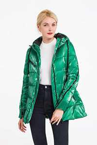 Polydeer Women's Warm Winter Jacket,Waterproof Puffer Rain Coat,Velvet Shiny Lightweight Hooded Outerwear (Green, L)