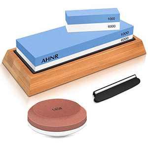 Knife Sharpening Stone Set, Puck - Axe Sharpener Tool, AHNR Multi-Purpose Knife Sharpener Kit Dual Side Grit 1000/6000, Whetstone Blade & Tool Sharpener with NonSlip Bamboo Base & Angle Guide