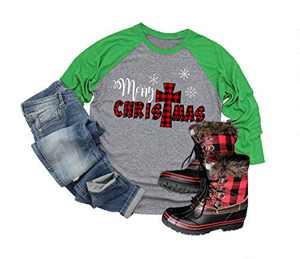 Christmas Graphic Shirts for Women Novelty Dwarfs Print 3/4 Sleeve Raglan Baseball Tee Tops (Green #2, M)
