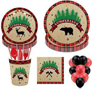 113PCS Lumberjack Disposable Tableware, Partybloom Lumberjack Party Supplies with Lumberjack Party Plates, Cups, Napkins, Straws,Balloons More for Lumberjack Baby Shower Birthday Party Decorations