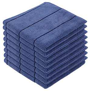 Homaxy Microfiber Dish Cloths, Ultra Soft and Super Absorbent Dish Towels - Great for Household Cooking Cleaning, 12 x 12 Inch, 8 Pack (Stripe Designed), Navy Blue