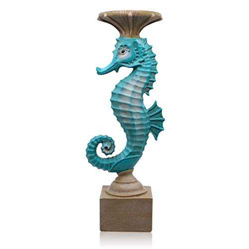 "Seahorse Candle Holders for Candles Resin Antique Style Modern Decorative Candlestick for Table Wedding Dinning Beach Theme Party 15.4"" H"