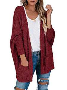 Boncasa Womens Open Front Fuzzy Cardigan Sweaters Batwing Sleeve Lightweight Popcorn Loose Knit Sweater Pockets Coat Wine Red 2BC30-jiuhongse-XL