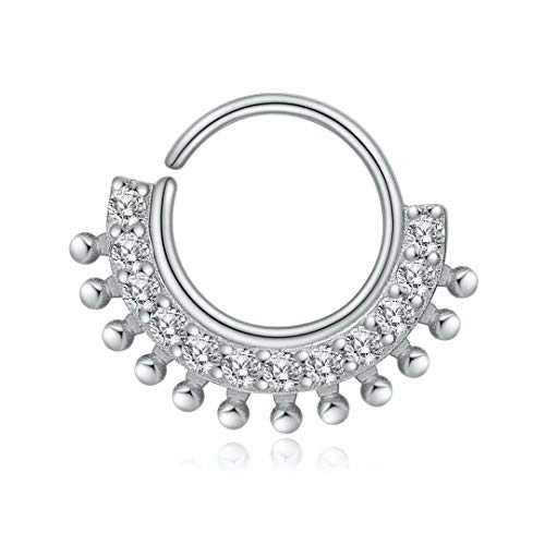 Daith Earrings Septum Ring for Women, 925 Sterling Silver Hypoallergenic Cubic Zirconia 20g Septum Ring 20 Gauge 8mm Daith Hoop Earrings Tragus Rook Helix Earrings Daith Piercing Septum Jewelry