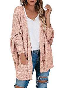 Boncasa Womens Chunky Popcorn Cardigan Oversized Open Front Fuzzy Boyfriend Batwing Long Sleeve Knit Sweaters Pink 2BC30-fense-L