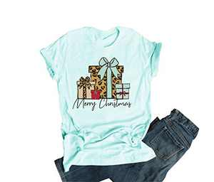 Merry Christmas T-Shirt Women Novelty Graphic Funny Casual Short Sleeve Top Blouse (Green, L)
