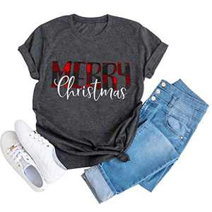 Merry Christmas T-Shirt Women Novelty Graphic Funny Casual Short Sleeve Top Blouse (Gray, S)