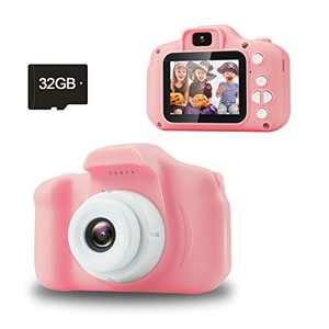 Jogotoll Kids Camera, 20.0MP Digital Dual Camera with 32GB SD Card, Electronic Toy,Gifts for 3 4 5 6 7 8 Year Old Girl(Pink)