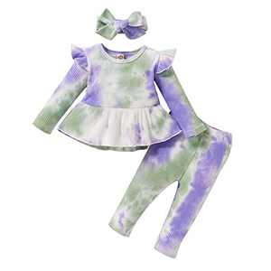 ZOEREA 3Pcs Baby Girl Clothes Tie Dye Infant Ruffle Long Sleeve T-Shirt Top +Long Pants + Headband Outfits Sets Purple
