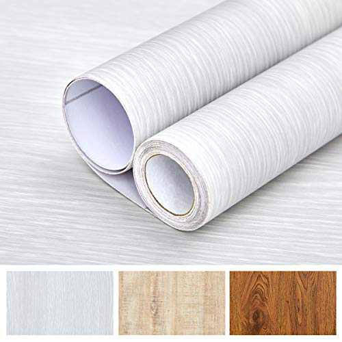 """Wood Peel and Stick Wallpaper Self Adhesive Wall Decal Sticker Removable Vinyl Film Wrap 15.7""""× 78.7"""", Wood Grain White"""