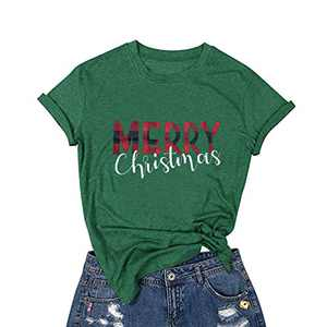 Merry Christmas T-Shirt Women Novelty Graphic Funny Casual Short Sleeve Top Blouse (#2 Green 2, M)