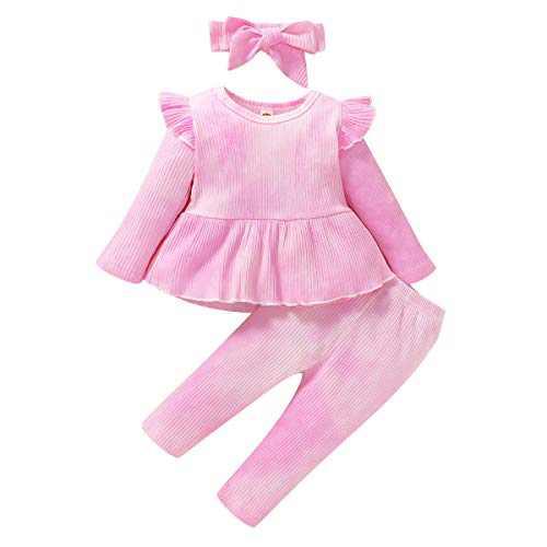 ZOEREA 3Pcs Baby Girl Clothes Tie Dye Infant Ruffle Long Sleeve T-Shirt Top +Long Pants + Headband Outfits Sets Pink