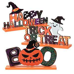ANPHSIN Set of 3 Happy Halloween Wooden Centerpiece Signs- Trick or Treat Table Toppers Table Signs with Witch Hat Goast Pumpkin Shaped Ornaments for Halloween Party Table Top Decoration