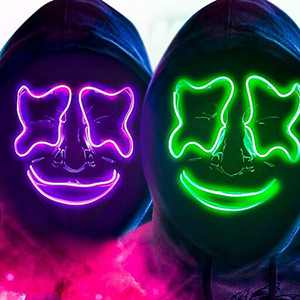 2 Packs LED Mask Halloween Mask Cool Cosplay Scary Light up Mask for Festival Parties (Green & Purple)