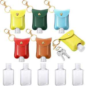 5 Pieces Empty Travel Plastic Bottles Clear Flip Cap Reusable Bottles with Keychain Carriers Containers 2 Ounce Refillable Bottles Holders for Lotion Wash Liquid (Blue, Yellow, Green, Red, Orange)
