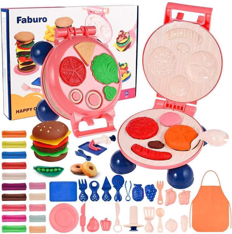 Faburo Play Dough, Play Dough Kitchen,Hamburger Cooking Toy kit with Non-Toxic Dough (MultiColours)