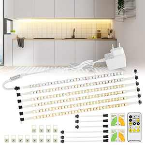 Maxuni Led Under Cabinet Lighting 6PCS, 3000k-6000k Dimmable Under Cabinet Light with Remote Control, 360LED Under Counter Lights for Kitchen Cabinet TV Showcase with Flash Mode
