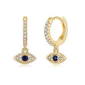 Evil Eye Huggie Hoop Earrings, S925 Sterling Silver Post Blue Evil Eyes Dangle Hoop Earrings, 14K Gold Plated Cute Cubic Zirconia Huggie Earrings Dangling Mini Hoop Earrings for Women Girls