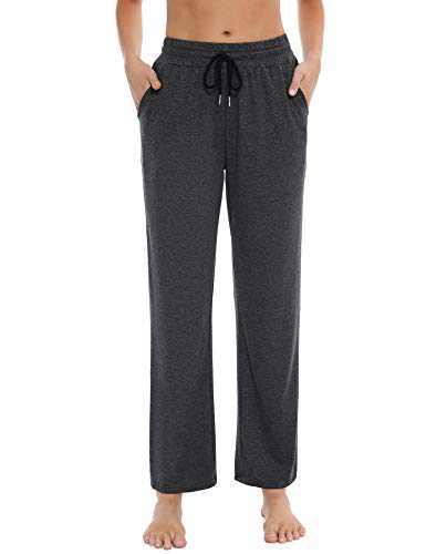 Sykooria Womens Wide Leg Yoga Pants with Pockets Drawstring Loose Straight Lounge Pants Running Workout Sweatpants(Dark Grey,XX-Large)