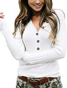 Women's Sweater Long Sleeve V Neck Ribbed Button Down Knit Pullovers Tops (White,L)
