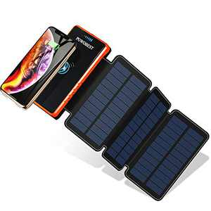 POWOBEST Solar Power Bank,Solar Phone Charger,20000mAh,Outdoor Portable Power Bank,Portable External Battery,Wireless Solar Charger, Solar Portable Charger,Solar Power Bank Portable Panel Charger