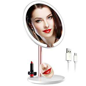 TTAT Lighted Makeup Mirror, Led Mirror with Lights Touch Screen 3 Colors Dimable,360°Rotation Detachable Vanity Mirror 10X Magnification Mirror,Portable Rechargeable Cosmetic Beauty Table Mirror