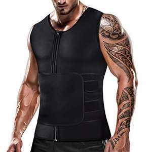 Mens Sweat Sauna Vest for Waist Trainer Zipper Neoprene Tank Top, Adjustable Sauna Workout Body Shape Zipper Suit (Large)
