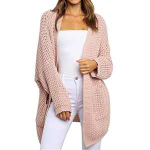 Byinns Women's Sweater Cardigans with Pockets Solid Color Casual Loose Open Front Knitwear Coat Outwear Pink